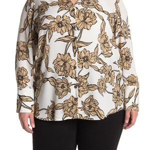 14th & Union Floral Print Button Front Tunic Shirt